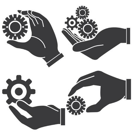 despatch: hand holding gears, management concept
