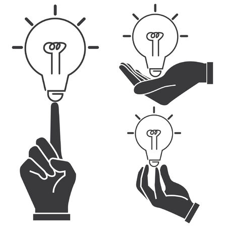 pick light: idea, hand holding light bulbs