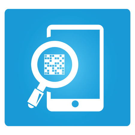 qr: QR code and mobile phone, blue square button Illustration