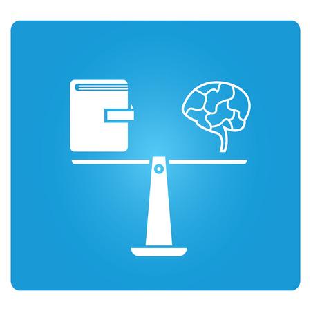 knowledge, blue square button Illustration