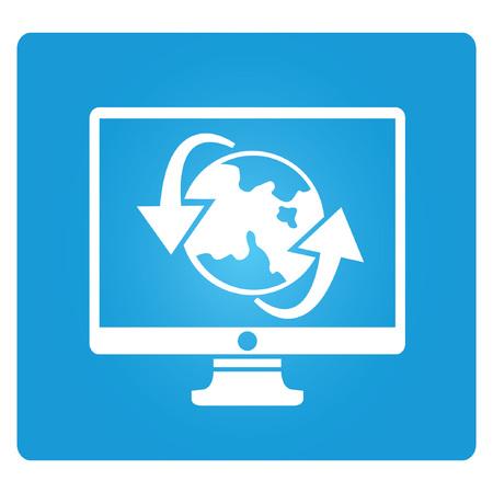 allocate: globalization, blue square button Illustration
