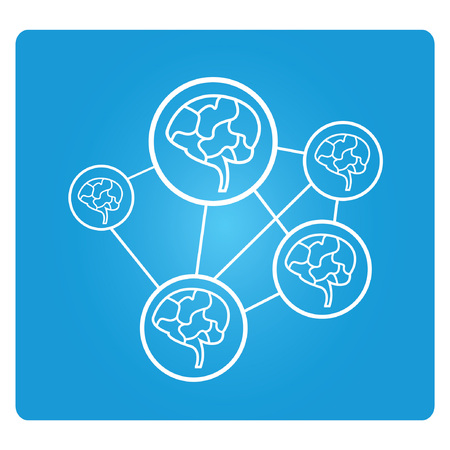 transcendence: brainstorm, blue square button Illustration