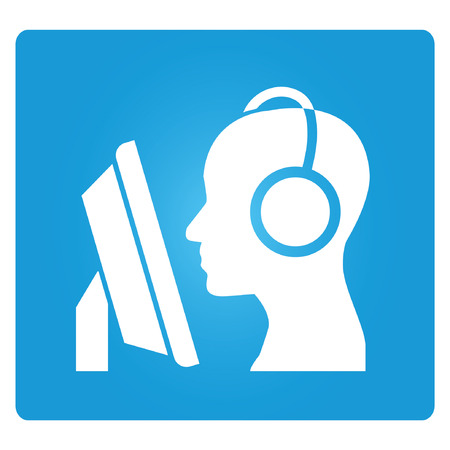 call center agent: online learning, blue square button