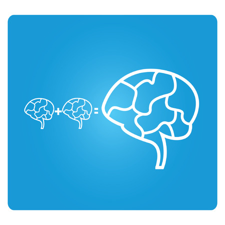 outside the box: brainstorm, blue square button Illustration
