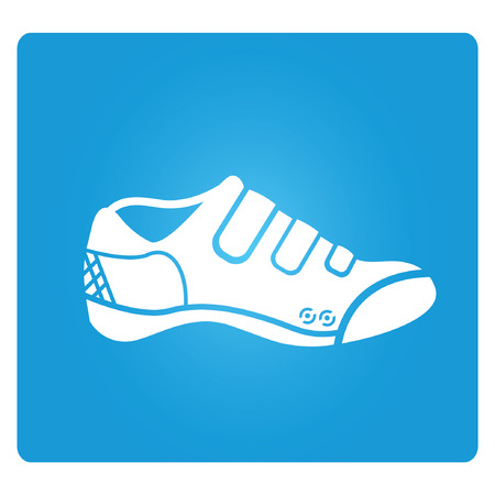 running shoes, blue square button Stock Vector - 27280541