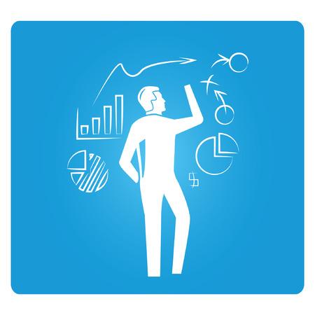 business plan, blue square button
