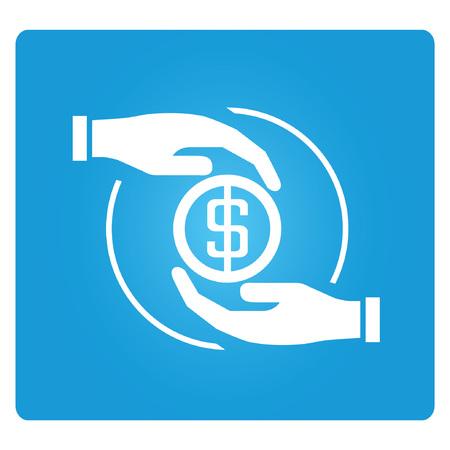 economize: money allocation, blue square button