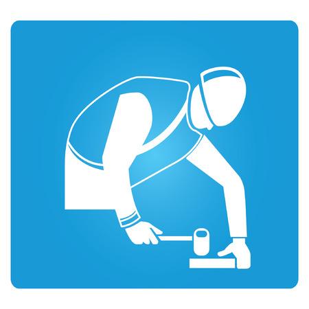 carpenter, blue square button