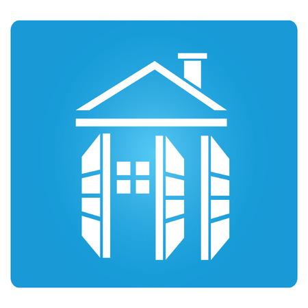 precast: home, precast concrete, blue square button