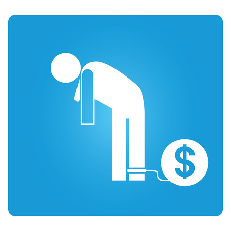 burden: debt, blue button Illustration