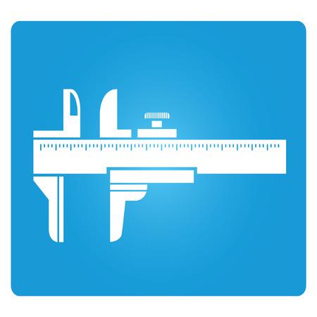 caliper: Vernier Caliper blue square button Illustration