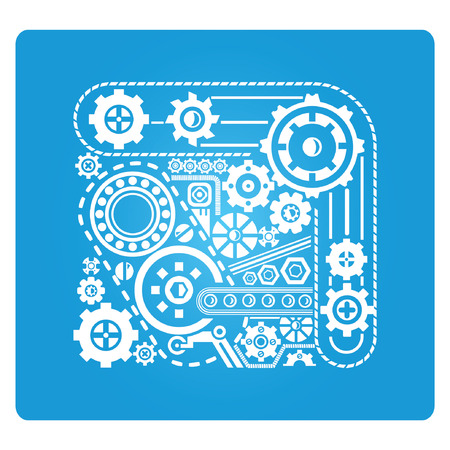 gear blue square button Vector