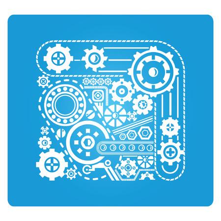 gear blue square button Vector