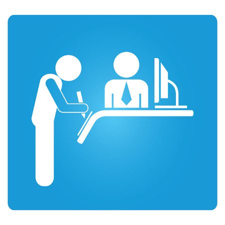 reception blue square button Vector