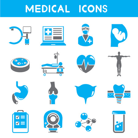 medical icons, blue color theme Illustration