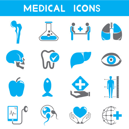 semen: icone medici, tema di colore blu