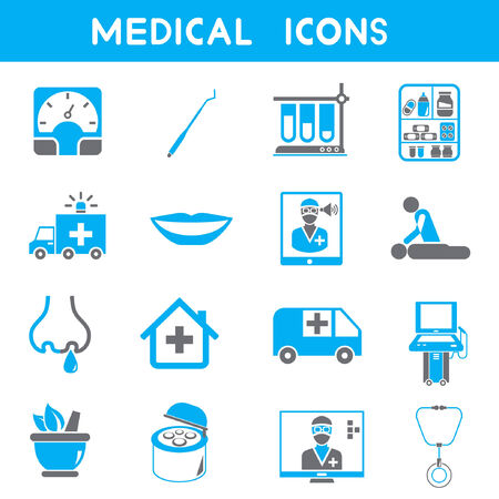 physical therapy: medical icons, blue color theme Illustration