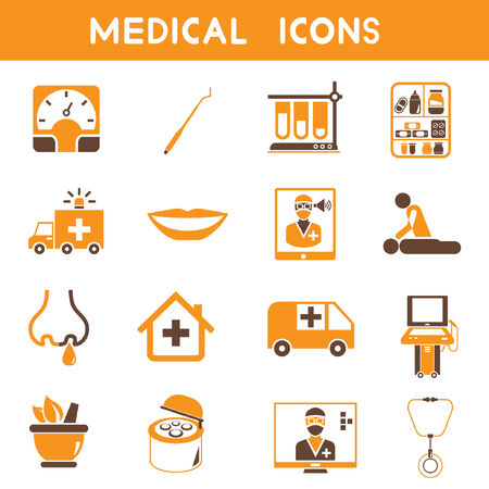 medical icons, orange color theme Vector