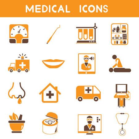 nursing home: medical icons, orange color theme Illustration