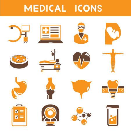 ct scan: medical icons, orange color theme Illustration