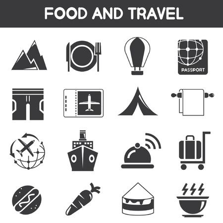 roam: food and travel icons Illustration
