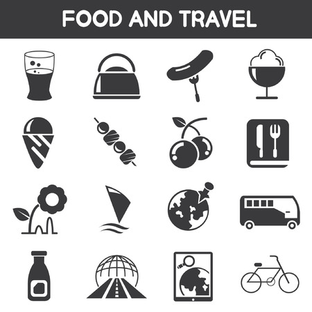 food and travel icons Vector