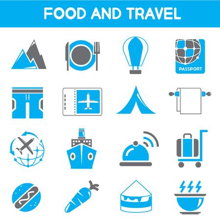 sip: alimentos y los iconos de viajes, tema de color negro y azul Vectores