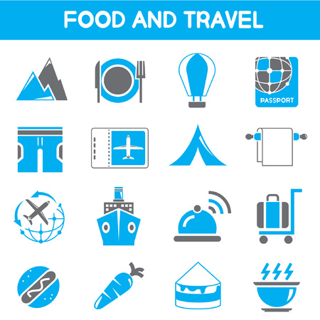 fell: food and travel icons, black and blue color theme