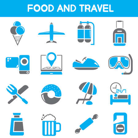 roam: food and travel icons, black and blue color theme