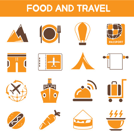sip: food and travel icons, orange and brown color theme