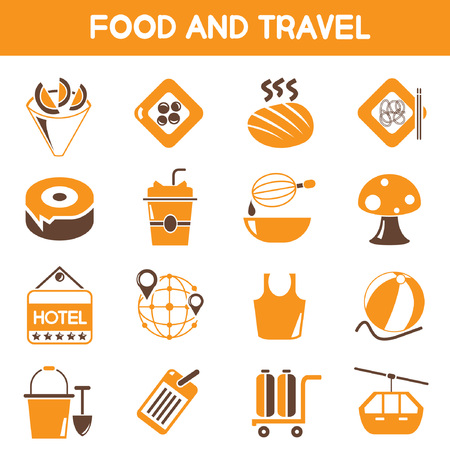 button mushroom: food and travel icons, orange and brown color theme