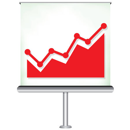 projection screen: projection screen with increasing graph Illustration