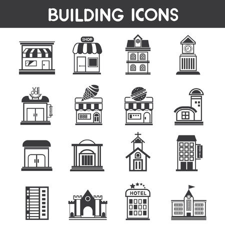 edifice: building icons, map elements Illustration