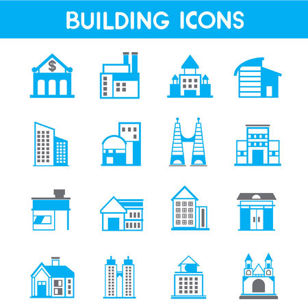 structuring: building icons, map elements blue theme Illustration