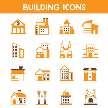 structuring: building icons, map elements orange theme