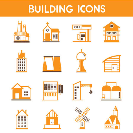 nuclear power: building icons, map elements orange theme