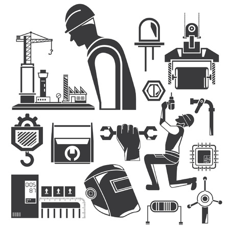 construction icons, mechanical tools