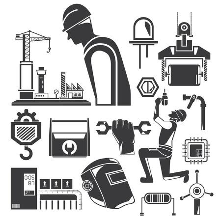 construction icons, mechanical tools Ilustração