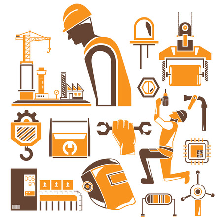 microchip: construction icons, mechanical tools, orange theme