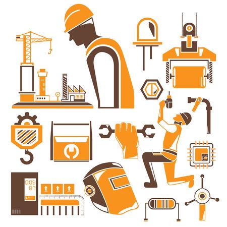 herramientas de mec�nica: iconos de la construcci�n, herramientas mec�nicas, el tema de naranja