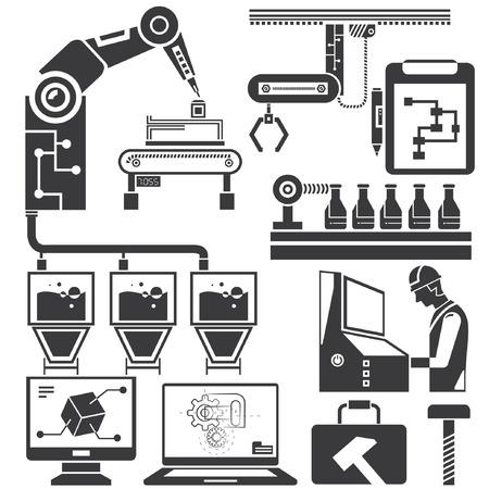 sistema: fabricaci�n, iconos de la l�nea de producci�n Vectores