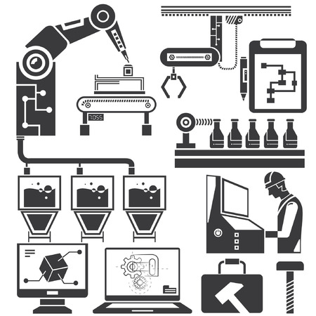 manufacturing occupation: manufacturing, production line icons Illustration