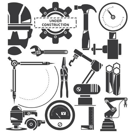 herramientas de mecánica: construcción, fabricación, iconos de la industria Vectores