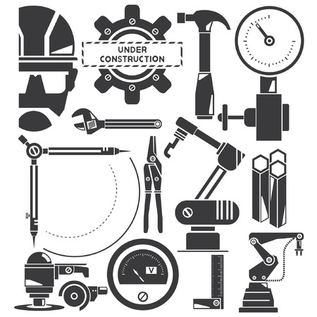 robot arm: construction, manufacturing, industry icons Illustration