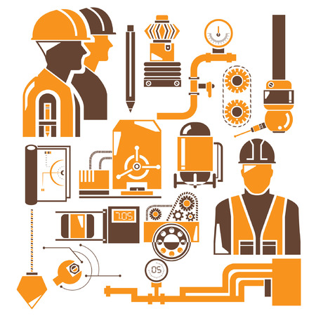 manufacturing, industry icons, orange theme Vector
