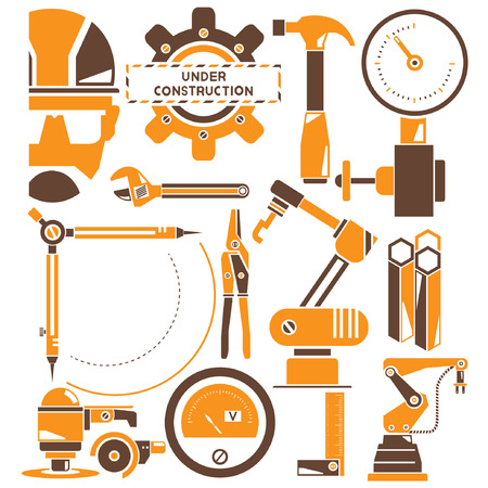 habiliment: construction, manufacturing, industry icons, orange theme