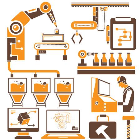 製造、生産ラインのアイコンは、オレンジ色のテーマ  イラスト・ベクター素材