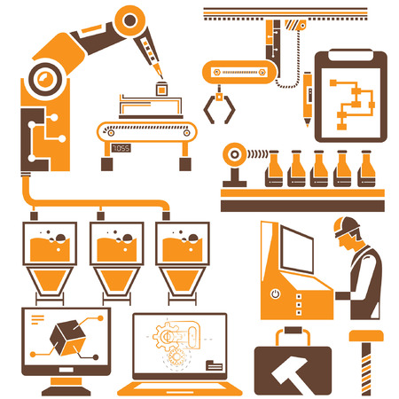 factory automation: manufacturing, production line icons, orange theme