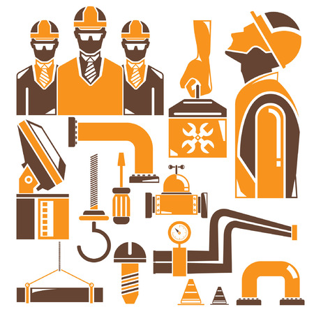 manufacturing occupation: engineering set, orange theme