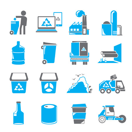 aguas residuales: iconos de basura, iconos azules
